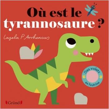 Où est le tyrannosaure ? – Livre à rabats en feutrine et miroir – À partir de 6 mois