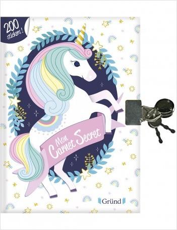 Mon carnet secret licornes – Journal intime prérempli à décorer avec des stickers– À partir de 7 ans